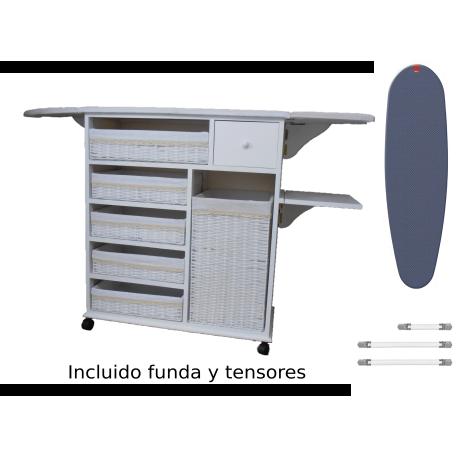 Mueble de plancha Estoril blanco 5 bandejas y cesto grande para ropa + funda y tensores